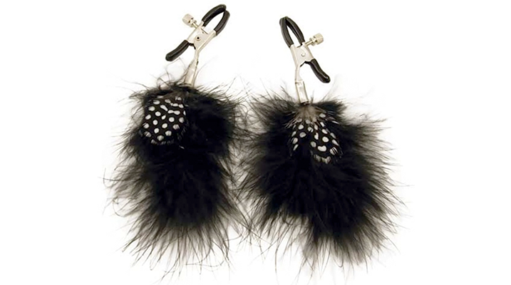 fetish feather nipple clamps