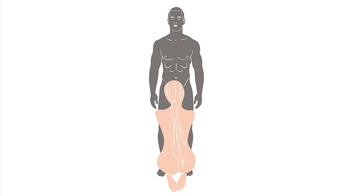 kneeling oral sex position